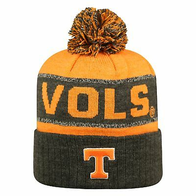 Tennessee Volunteers Ncaa Stripes - TENNESSEE VOLS VOLUNTEERS NCAA TOW 3-TONE STRIPED KNIT BEANIE CAP HAT POM NWT