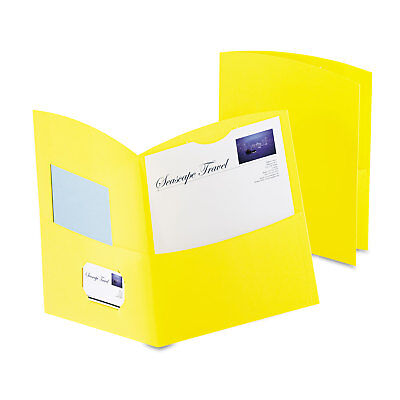 Oxford Contour Two-pocket Recycled Paper Folder 100-sheet Capacity Yellow