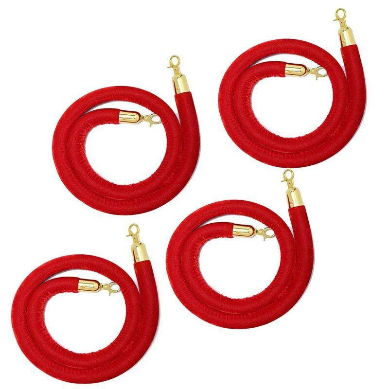 Bulk 4 Pcs Red Velvet Stanchion Rope Barrier for Red Carpet Party Church
