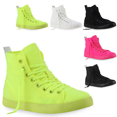 Damen Sneakers High Sportliche Turnschuhe Freizeit Schuhe Neon 79224 Mode Mode Sneakers Schuhe