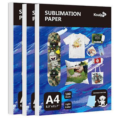 300 Sheets Koala Dye Sublimation Paper A4 Heat Transfer Cotton Poly T-shirt Mug