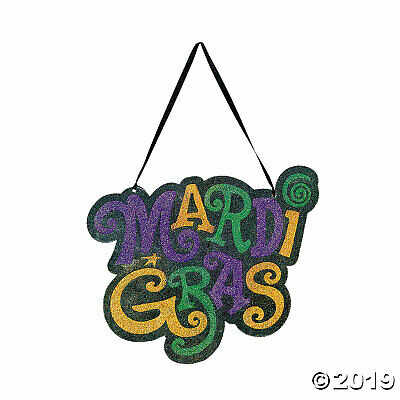 MARDI GRAS Fat Tuesday Party Decoration Glitter Door Hanger Sign Party Door Sign