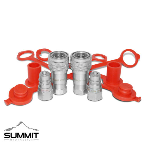"""2 Sets of 1/4"""" NPT ISO 5675 Ag Hydraulic Quick Connect Pioneer Style Couplers"""