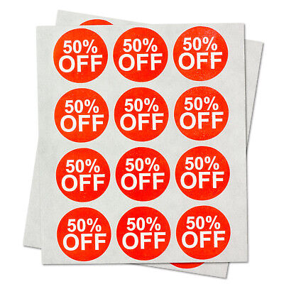 50 Off Stickers Retail Garage Sale Clearance Flea Market Labels 1 Round 1pk