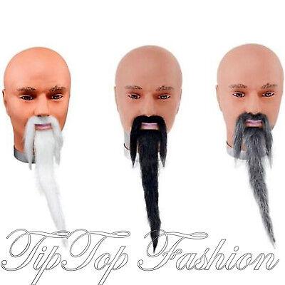 NEU Herren Kostüm Schnurrbart und lang Orientalische Chinesisch Zauberer - Lange Schnurrbart Kostüm