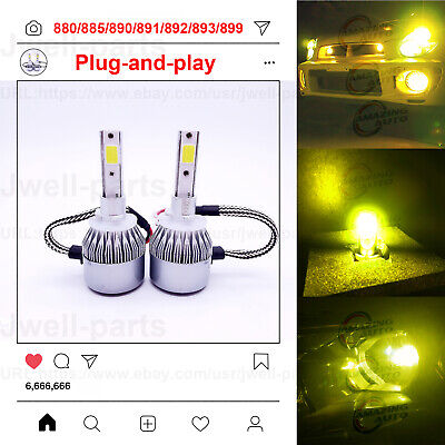2x Super Bright 880 885 890 891 892 893 899 LED Fog Light Bulbs 35W 3000K Yellow