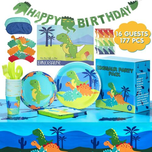 AwesomeAll Dinosaur Party Supplies-Plates, Cups, Napkins, Cupcake Wrappers,