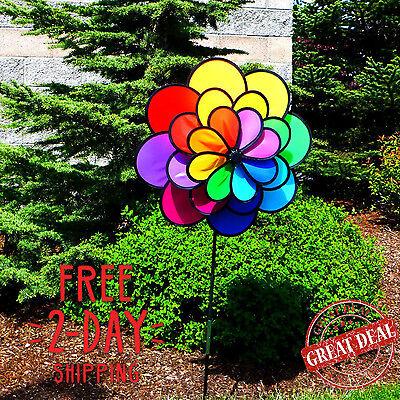 Garden Wind Spinner Yard Flower Decor Art Colourful Kinetic Stake Twister
