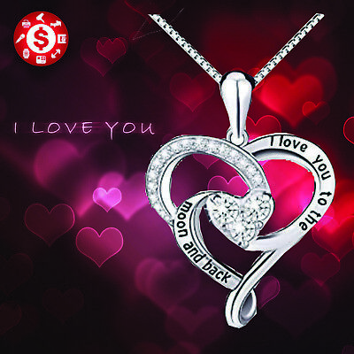 Sterling Silver Necklace I Love You Heart Pendant Valentines Day Gift For Her