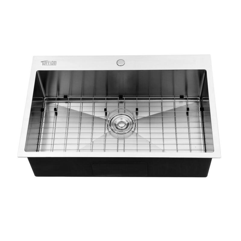 "33""x 22""x 9"" Single Basin Stainless Steel Top Mount Kitchen Sink w/ Bottom Grid"