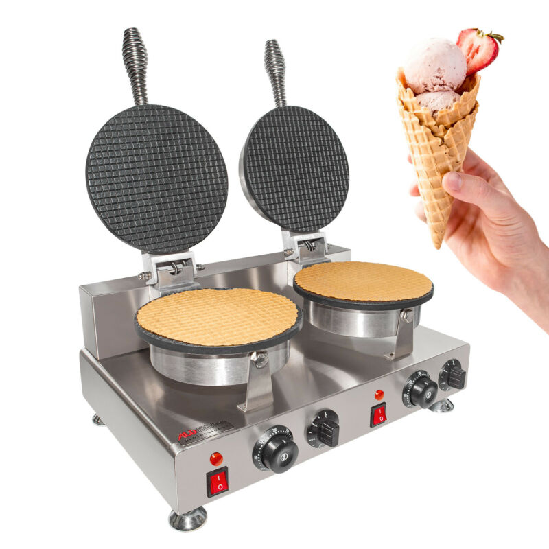 Waffle Cone Maker | Commercial Ice Cream Cone Maker | Manual Control | Double