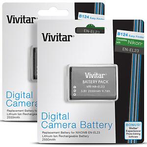 2-Pack-Vivitar-EN-EL23-Battery-for-Nikon-Coolpix-B700-P900-S810c-P610-P600