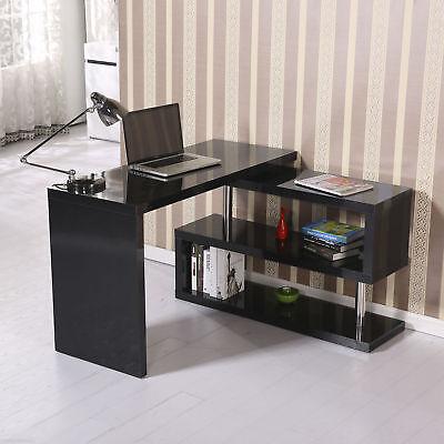Wood Rotating Computer Desk Bookshelf Storage Display Shelf Home Furniture Black