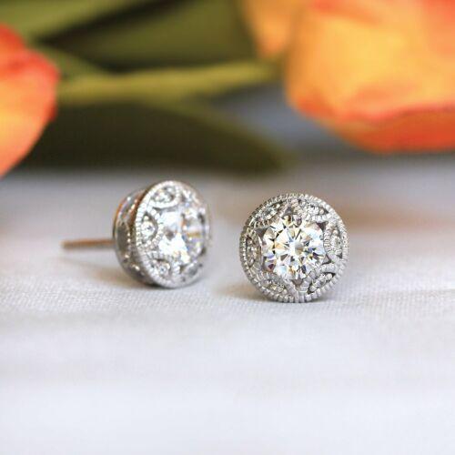Vintage Art Deco Stud Engagement Wedding Earrings 14k White Gold 3.1 Ct Diamond