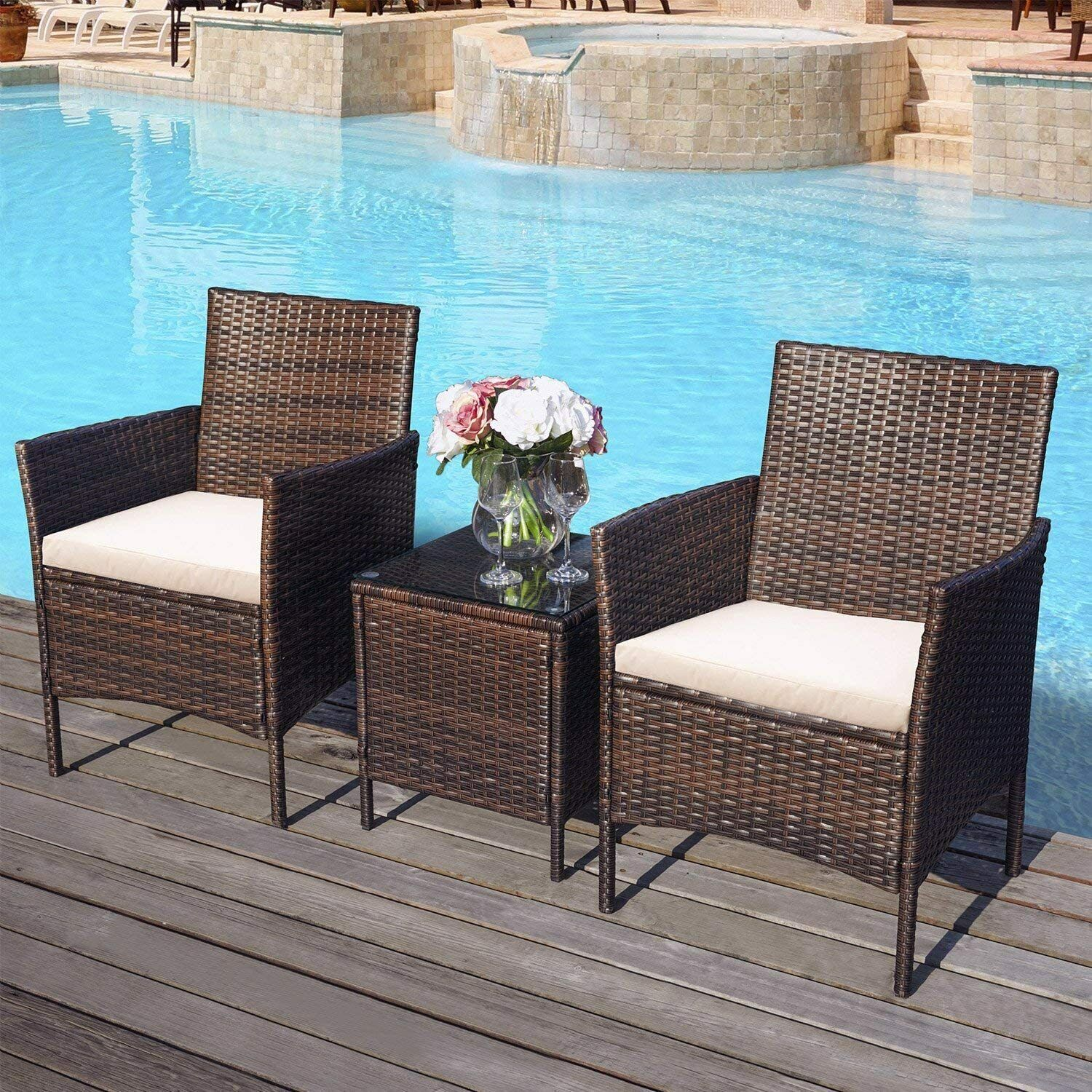 Garden Furniture - Garden Furniture 2 Seater Rattan Sofa 3Pcs Patio Table Set Cushions Love Seat