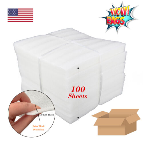 "100 Foam Packing Wrap Sheets 12X12 1/8"" Cushion Shipping Moving Pouches Craft"