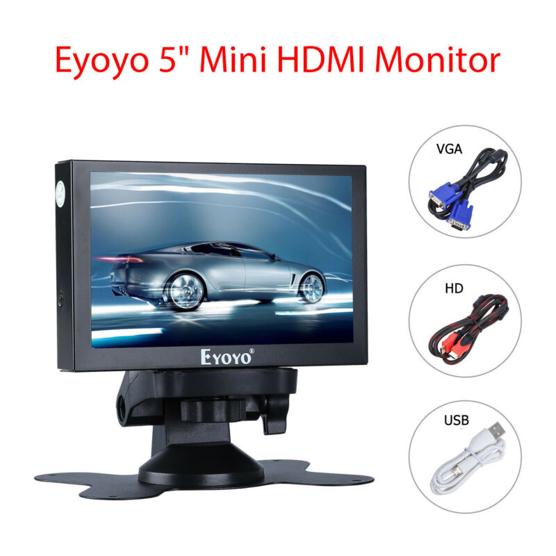 Eyoyo 5 Inch HDMI VGA BNC Monitor 800x480 Car Rear View Security TFT LCD Ypbpr