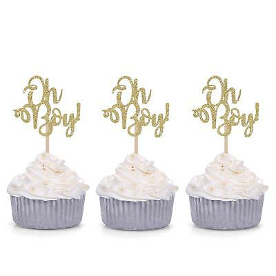 Giuffi Set of 24 Golden Oh Boy Cupcake Toppers Party Decors Baby Shower Decors - Baby Shower Cupcake Decorations