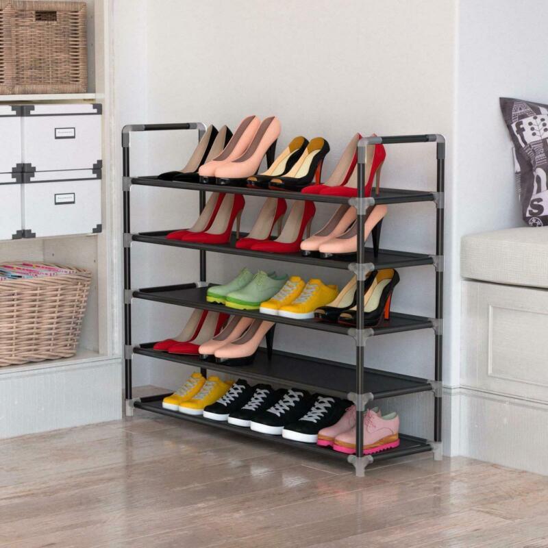 5 Tier Compact Shoe Rack Tower Cabinet Storage Organizer Shelf