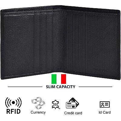 Portafoglio Uomo in Pelle RFID Porta Carte di Credito Portamonete Piccolo Slim