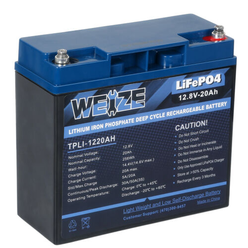 12V 20Ah LiFePO4 Rechargeable Lithium Battery Iron Phosphate