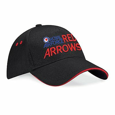 Red Arrows Embroidered Sandwich Baseball Cap - Royal Air Force RAF Licenced Hat