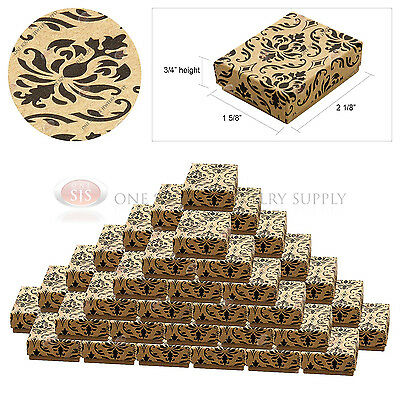 50 Kraft Damask Print Gift Jewelry Cotton Filled Boxes 2 18 X 1 58 X 34