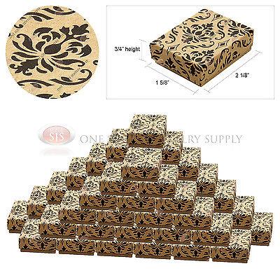 50 Kraft Damask Print Gift Jewelry Cotton Filled Boxes 2 18 X 1 58 X 34