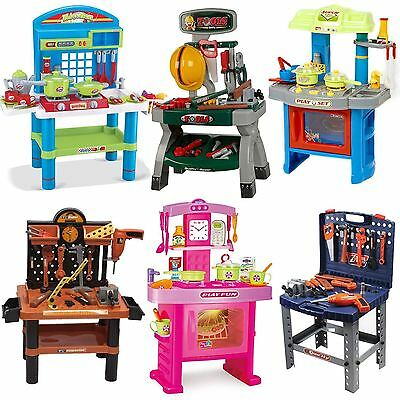 Children's Kids Power Tools Work Bench Kitchen Cooking Creative Role Play -