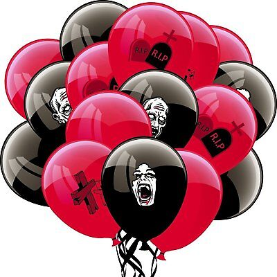 Halloween Black and Red Latex Balloons for Zombie Halloween Party - Party Decorations For Halloween