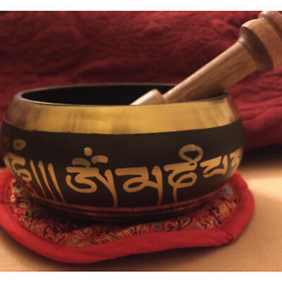 Singing Bowl Tibetan Meditation Mallet Yoga Healing Set Buddhist Brass Chakra 4""