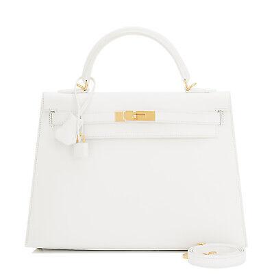 Sublime Hermes White Epsom Sellier Kelly 32cm Gold Hardware Shoulder Bag