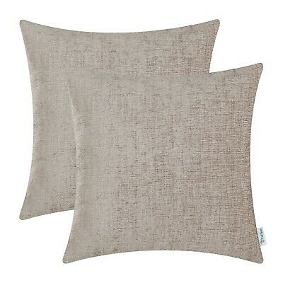 2Pcs Taupe Cushion Covers Pillow Shells Dyed Soft Chenille Sofa Car Decor 22x22""