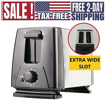 2 Slice Exceptionally Wide Slot Toaster for Bagel Thick Bread Stainless Steel Toaster