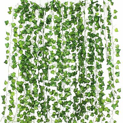 12pcs Artificial Ivy Leaf Plants Vine Hanging Garland Fake Flowers Home Decor