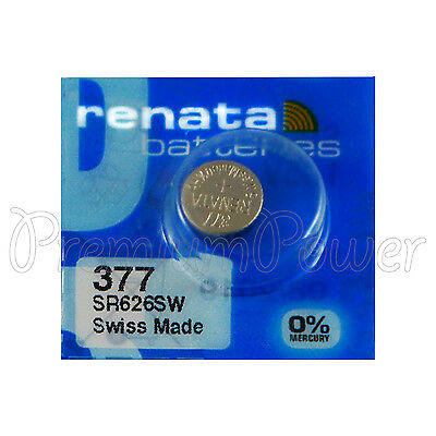 1 x Renata 377 Silver oxide battery 1.55V SR626SW SR66 376 Watch 0% Mercury 377 Silver Oxide Watch Battery