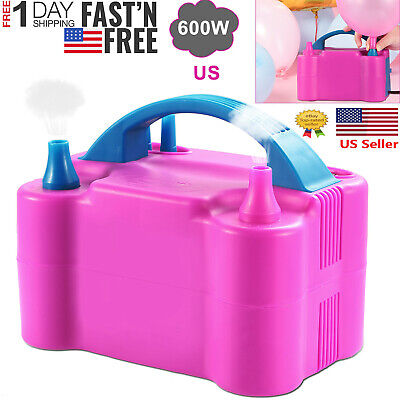 Portable Double Electric Balloon Air Pump Inflator 110V Blower Party Pink](Party Balloon Pump)