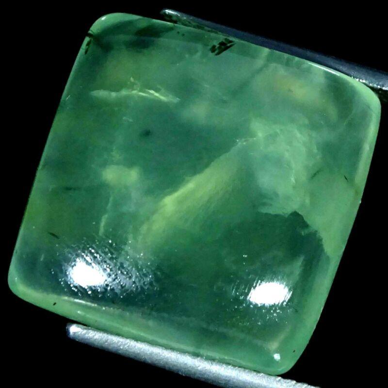 28.60Cts. 100% Natura Green Prehnite Cushion Cabochon Loose Gemstone
