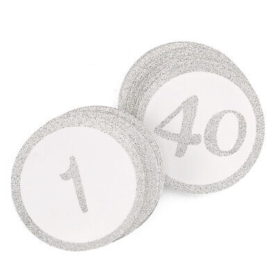 Silver Glitter Round Table Numbers Cards Wedding Party Reception 1-40 MW21865 ()