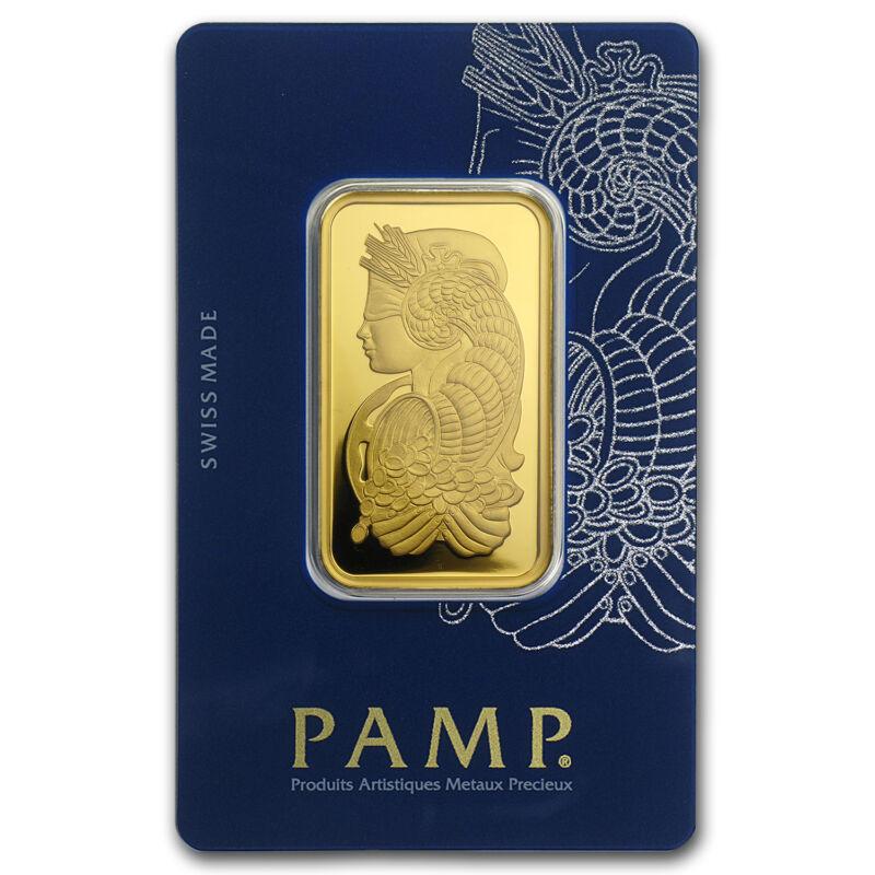 1 Oz Pamp Suisse Lady Fortuna Gold Bar .9999 Fine In Veriscan Assay Card