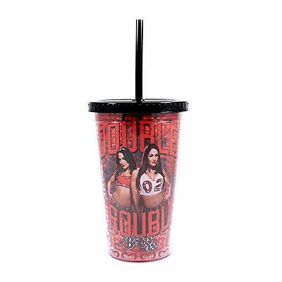 Plastic Cup With Lid And Straw (WWE Bella Twins Double Trouble Plastic Cold Cup with Lid and Straw,)