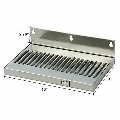Draft Beer Drip Tray - Wall Mount Drip Tray No Drain - Stainless Steel 10 X 6