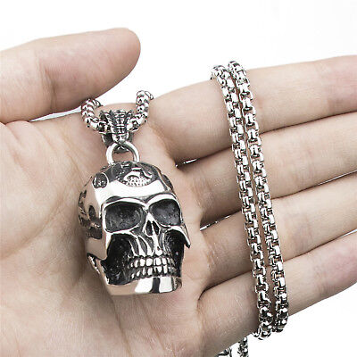 Men's Big & Heavy 3D Flaming Skull Stainless Steel Biker Pendant Necklace Chain - Flaming Skull Necklace