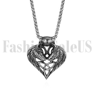 Stainless Steel Wolf Celtic Cross Irish Knot Matching Heart Pendant Men - Stainless Steel Celtic Knot