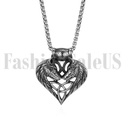 Stainless Steel Wolf Celtic Cross Irish Knot Matching Heart
