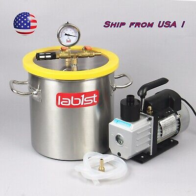 2.0 Gallon Degassing Vacuum Chamber And Two Stage 7cfm Vacuum Pump Kit