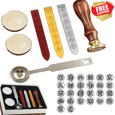 Gift Pro European Retro Wooden Alphabet Letter Initial Wax Seal Stamp Kit / Wax