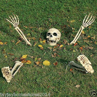 Fully Posable 5 Pc Horrified Buried Skeleton Lawn decoration Pose And Stay