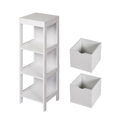 3-Tier Floor Cabinet Side Storage Bathroom Organizer with 2 Drawers Home White