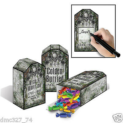 3 HALLOWEEN Haunted Mansion Party FAVOR Treat BOXES Decoration TOMBSTONE Grave - Haunted Mansion Halloween Decorations